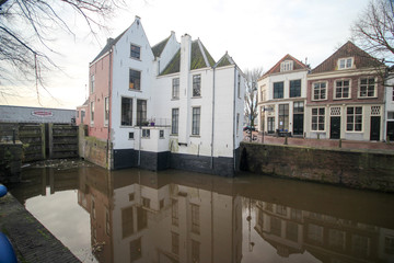 Historical building at the sluice in Gouda