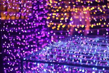 colorful light boken  and Christmas tree background, light abstract art , celebrate festival season.