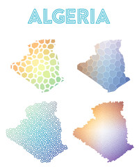 Algeria polygonal map. Mosaic style maps collection. Bright abstract tessellation, geometric, low poly, modern design. Algeria polygonal maps for infographics or presentation.