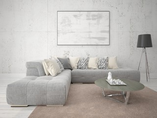 Mock up poster stylish living room with fashionable sofa and stylish frame.
