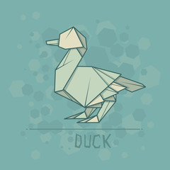Vector illustration paper origami of duck.