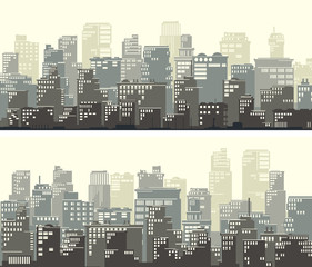 Horizontal wide banners of big abstract city.