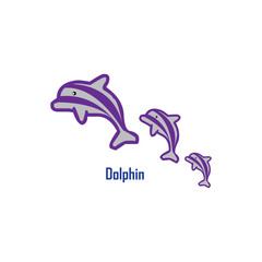 Three Dolphin Vector Template Design