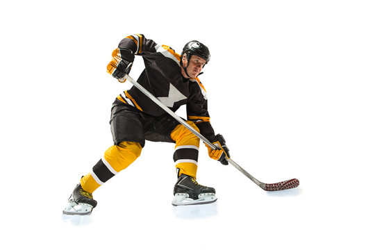one caucasian man hockey player in studio silhouette isolated on white background