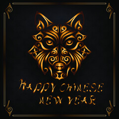 Happy Chinese New Year card with husky dog or wolf head on textured background and golden frame. Symbol of Chinese 2018 New Year. Husky dog head stylized Maori face tattoo. Vector illustration.