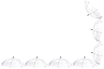 Transparent umbrella on white background.