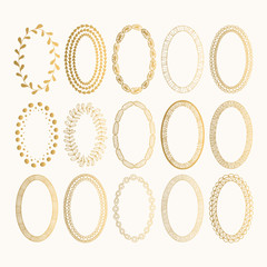 Set of golden oval hand drawn frames