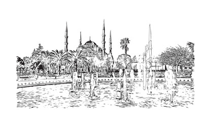 Hand drawn sketch of The Blue Mosque or Sultanahmet Camii in Istanbul, Turkey in vector illustration.