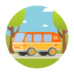 Road travel. A trip on the wood during week-end on a kamping in the van. The car goes on the way to a roadside trees. In flat style a vector. A concept of design of an icon for the websites.
