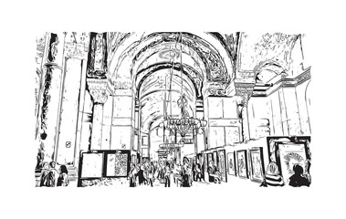 Hand drawn sketch of Interior of the Sultanahmet Mosque (Blue Mosque) in Istanbul, Turkey in vector illustration.