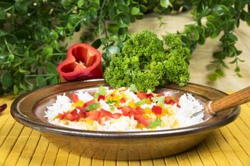 Leckerer Reis-Teller