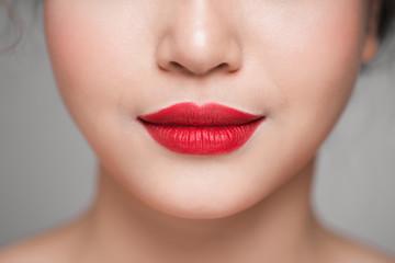 Red Sexy Lips closeup. Make up concept. Beautiful Perfect Lips.