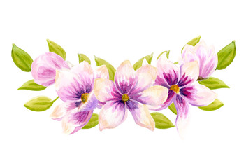 Watercolor boho floral bouquets. Watercolour bohemian natural frame: leaves, flowers, Isolated on white background.