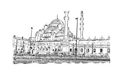 Hand drawn sketch of Suleymaniye Mosque Istanbul, Turkey in vector illustration.