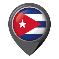 Icon representing location pin with flag of Cuba. Ideal for catalogs of institutional materials and geography