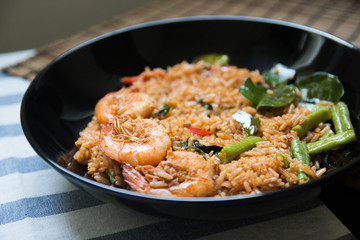 Red curry fried rice with prawn