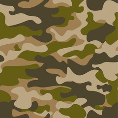 Seamless pattern. Abstract military or hunting camouflage background. Brown, green color. Vector illustration. repeated texture textile for clothes
