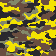 Seamless fashion wide woodland and yellow camo pattern vector illustration for your design.Classic clothing style masking camo repeat print.