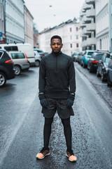 Sportive black man on street