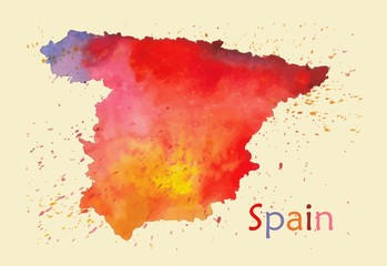 Stylized map of Spain