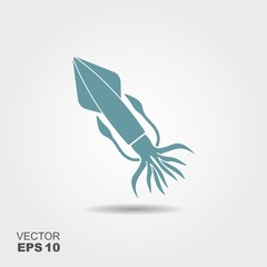 Squid. Flat vector icon