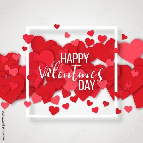 Saint Valentine Day Background With Colorful Hearts With Frame