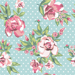 Rose flowers seamless pattern in white polka dots mint background