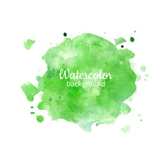 Watercolor geen abstract hand painted background. Watercolor vec