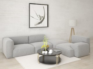 Mock up a stylish living room with a comfortable corner sofa and hipster background.