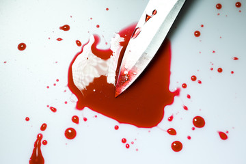 Knife with blood stain