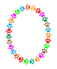 Oval frame of colorful paw prints animal with blank space for text.
