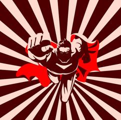 Flying superhero on camera. Black and white graphic.