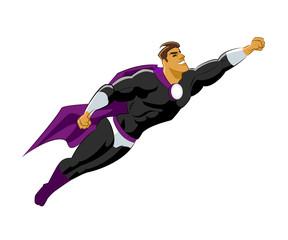 Superhero flying. Black violet clothes.