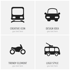 Set of 4 editable shipment icons. Includes symbols such as wagon, motorbike, automotive and more. Can be used for web, mobile, UI and infographic design.