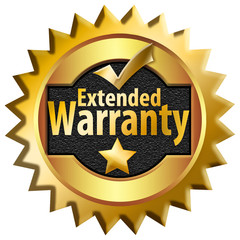 A generic extended warranty bade, sticker, icon, is seen in this 3-D illustration isolated on a white background.
