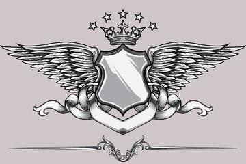 Monochrome winged emblem