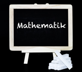 Mathematik Text auf Tafel