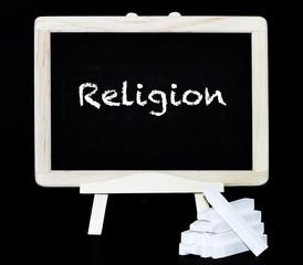 Religion Text auf Tafel