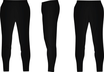 Black tracksuit bottoms. vector illustration