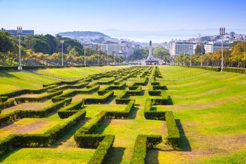 Edward VII sloped scenic park in Lisbon