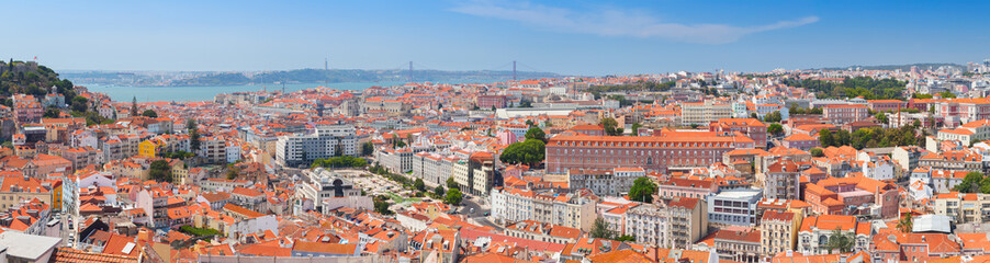 Extra wide panorama. Cityscape of Lisbon Wall mural