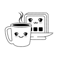 delicious coffee cup with slice bread kawaii character vector illustration design