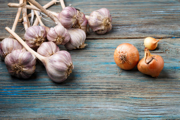 violet garlic and orange onion on a wooden background