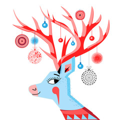 Vector New Year card with a merry portrait of a deer