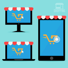 Online shopping. Flat style illustration