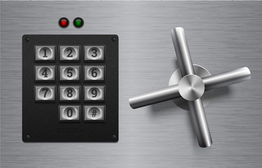 Realistic safe lock metal element on brushed metal background. Stainless steel wheel. Vector icon or design element. Keypad buttons on black plastic panel. Safety privacy protection concept.
