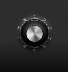 Realistic combination safe lock metal and plastic element on textured black background. Stainless steel round control. White scale. Vector icon or design element.