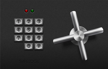 Realistic safe lock metal element on textured black plastic background. Stainless steel wheel. Vector icon or design element. Metal keypad buttons with number. Safety and privacy protection concept.
