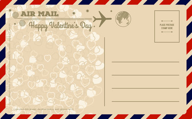 Vintage Valentines Day Postcard. Vector illustration.