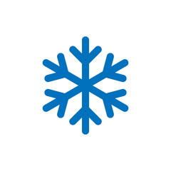 Snowflake sign. Blue Snowflake icon isolated on white background. Snow flake silhouette. Symbol of snow, holiday, cold weather, frost. Winter design element. Vector illustration